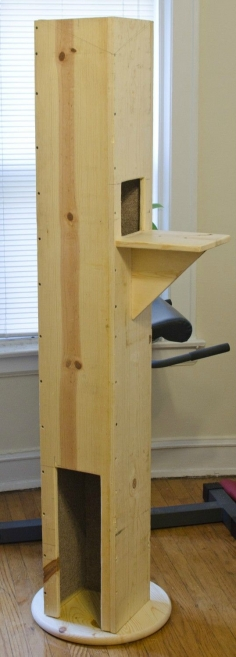 This board has amazing rabbit hutches and cat towers ... I have neither.. great board to investigate.. www.pinterest.com... DIY Cat Tower - make big enough to hide litter box?