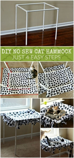 DIY No Sew Cat Hammock Tutorial in 4 Steps
