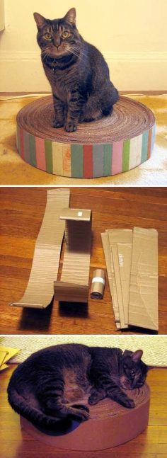 diy project: recycled cardboard kitty pad